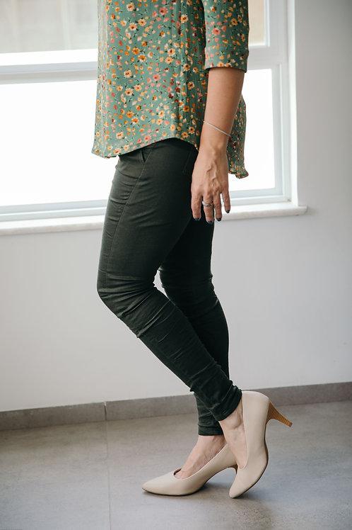 מכנס טריפ ירוק זית כהה