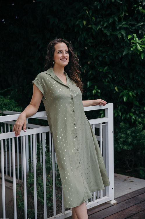 שמלת אמלי ירוק חאקי הדפס עלי זהב