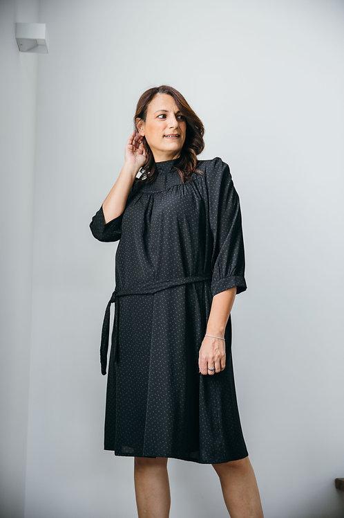 שמלת מיכל שחור הדפס