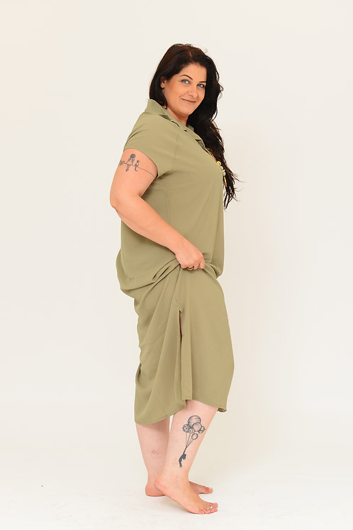 שמלת רותם מקסי ירוק חאקי