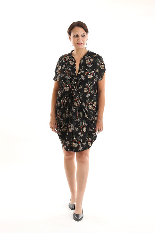 שמלת שרוך שחור פרחוני
