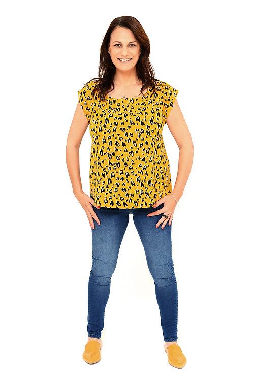 חולצת יוליה חרדל הדפס