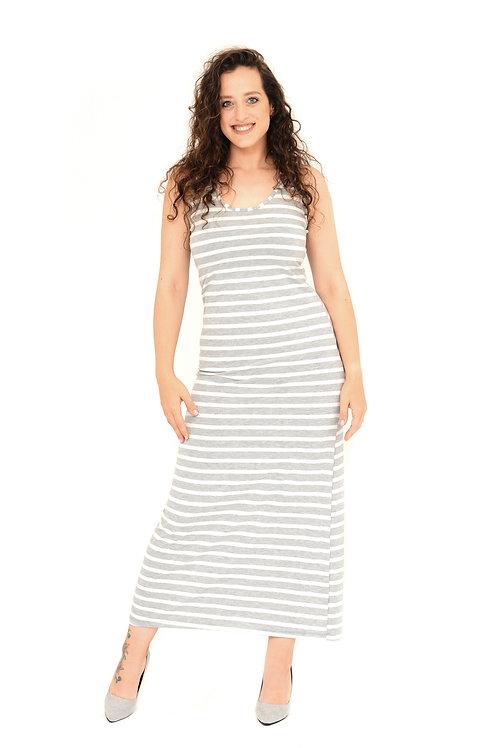 שמלת לירן אפור פסים