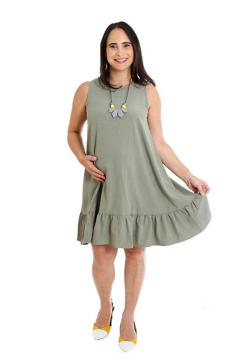 שמלת נועם ירוק זית הריון