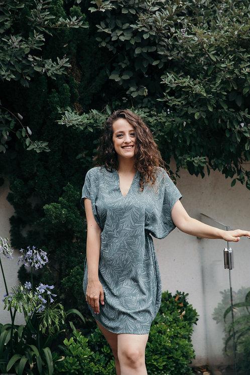 שמלת שרוך ירוק חאקי הדפס