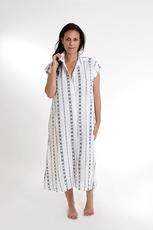 שמלת אמלי לבן פסים כחול