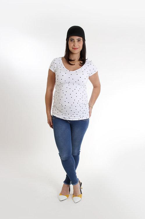 חולצת אורית הריון כוכבים לבן