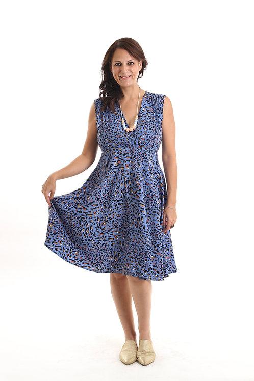שמלת אלכסנדרה כחול הדפס