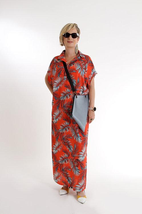 שמלת רותם מקסי אדום פרחוני