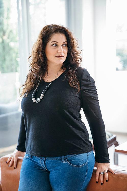 חולצת פלאם כיווצים בשרוול שחור PS