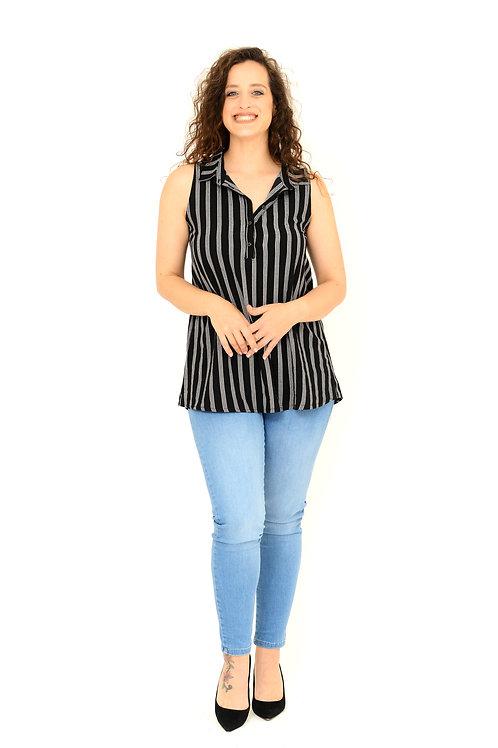 חולצת צוארון שחור פסים