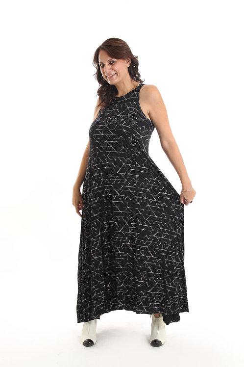 שמלת נאון שחור הדפס