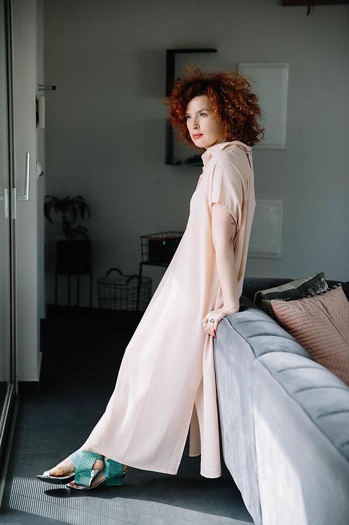 שמלת רותם מקסי ורוד בהיר