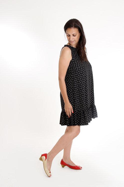שמלת נועם שחור מניפות