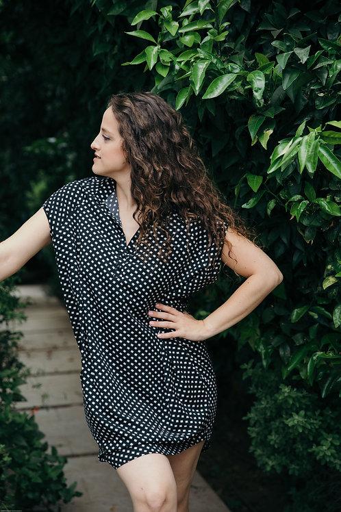 שמלת רותם הדפס שחור מלבנים