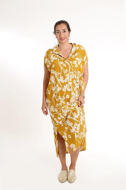 שמלת רותם מקסי חרדל פרחוני