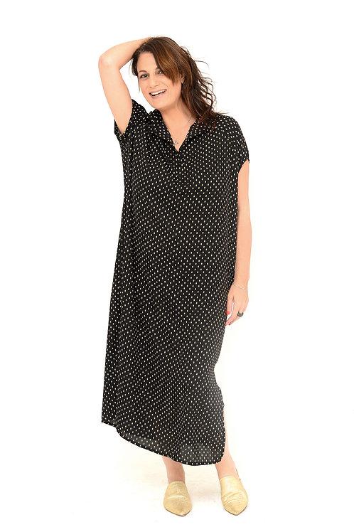 שמלת רותם מקסי שחור עלים