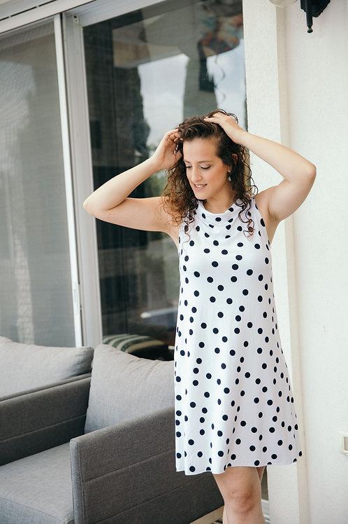 שמלת לורן לבן נקודות