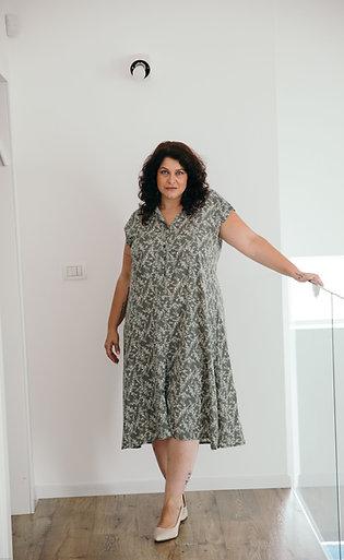 שמלת אמלי ירוק חאקי הדפס פרחוני PS