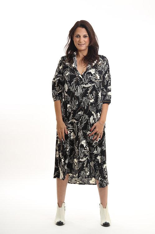 שמלת דניאלה הדפס שחור פרחים