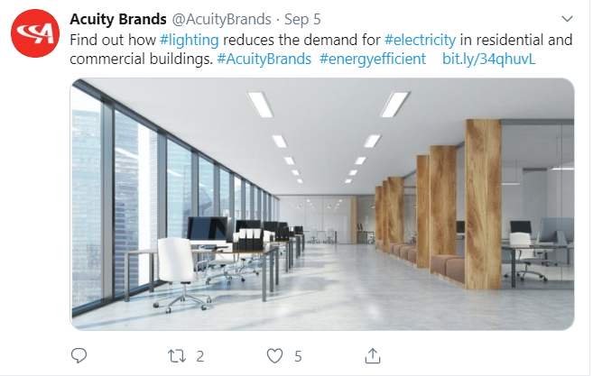 Acuity Brands Twitter Post