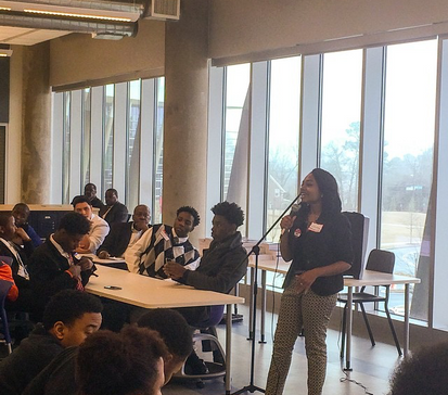 Speaking at the Black Man Can Institute
