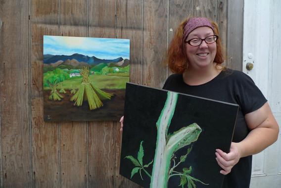 Yabette and her hemp paintings