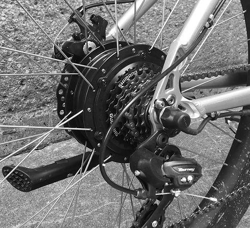 Shimano gears and Bafang wheel integrated motor closeup
