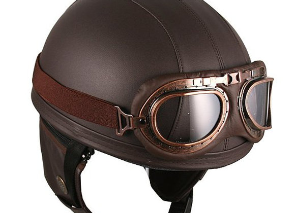 Vintage Style Retro Leather Brown Helmet with Goggles