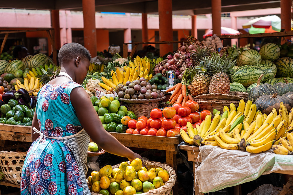 Colorful and vibrant fruit market in Afr