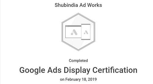 SHUBINDIA AD WORKS GOOGLE ADS CERTIFICAT