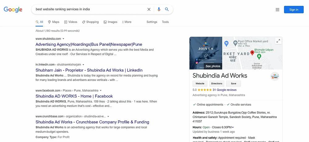 Website Ranking on Google