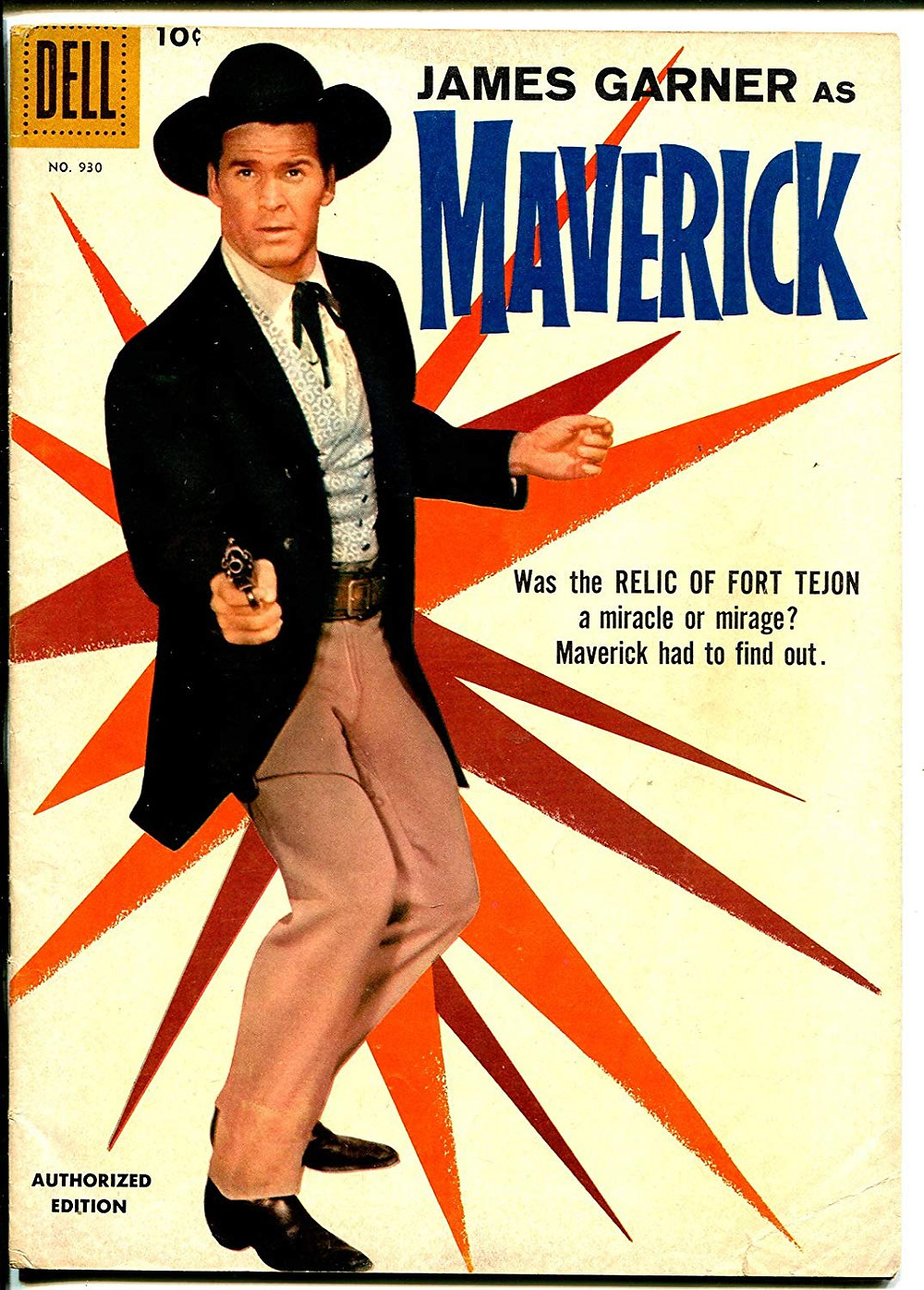 1958 Maverick comic book draw by Dan Spiegle and published by Dell featuring James Garner as Maverick