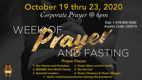 Prayer & Fasting Announcement Oct 2020.