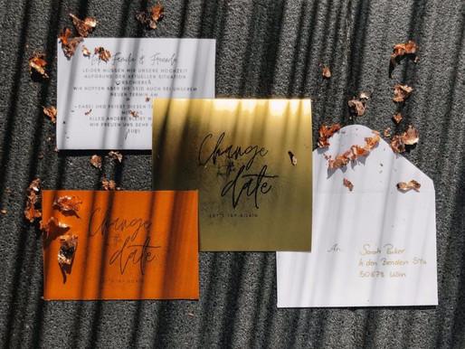 Kostenlose Change-the-Date Hochzeitskarten
