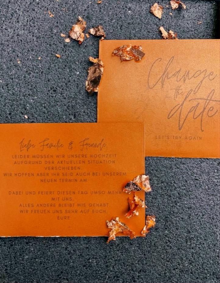 Papeterie, Hochzeit, Change the date Karte, kostenlos