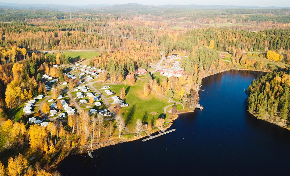 Aerial view of property from over Lake Barken