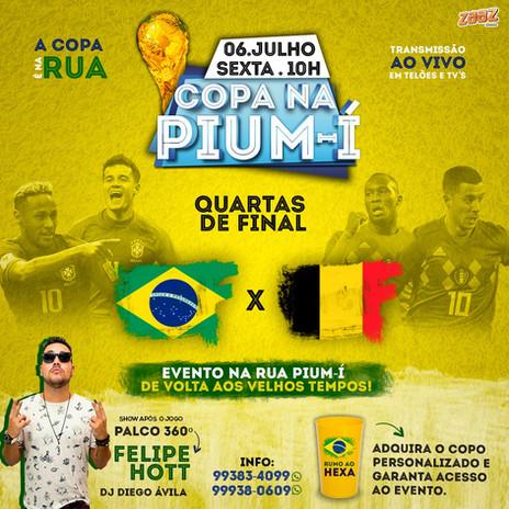 Rua Pium-Í será fechada para a exibição do jogo Brasil X Bélgica