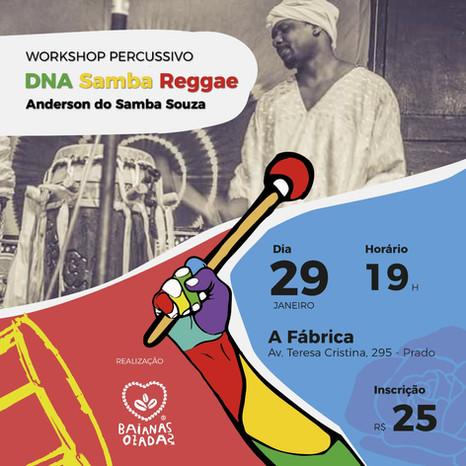 Anderson Souza comanda Workshop DNA Samba Reggae na próxima terça-feira
