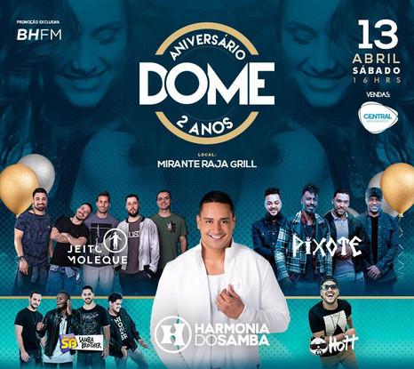 Pixote, Harmonia do Samba e Jeito Moleque agitarão o aniversário do Dome em BH