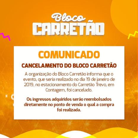 Comunicado - Cancelamento do Bloco Carretão