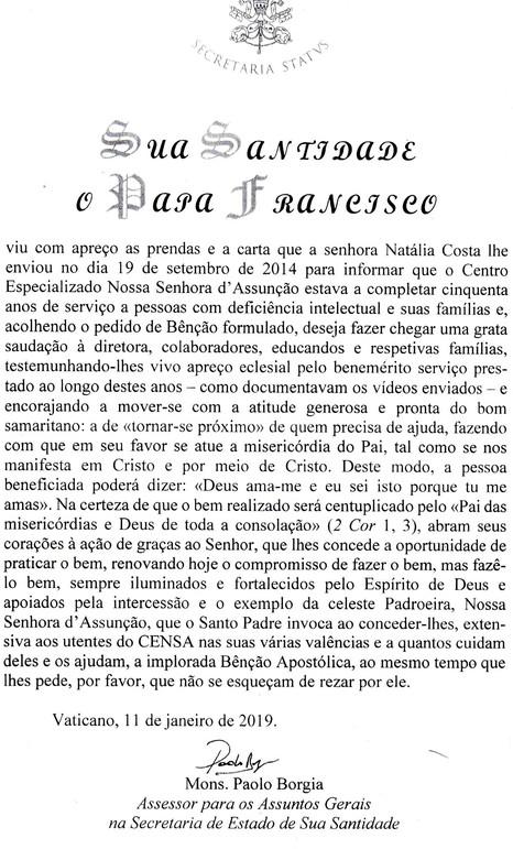 Papa Francisco envia carta saudando o Censa Betim pelos trabalhos realizados