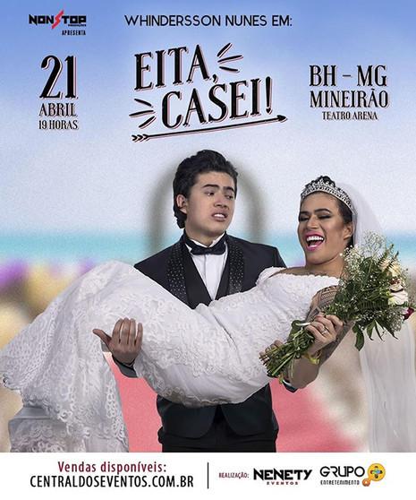"""Whindersson Nunes desembarca em BH neste sábado com o espetáculo""""Eita, Casei!"""""""