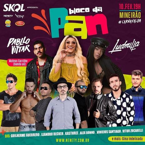 Bloco da Pan com Pabllo Vittar, Ludmilla e Mateus Carrilho agitará o Mineirão durante o carnaval