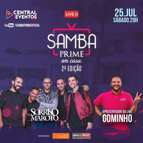 """Neste sábado tem a live """"Samba Prime em Casa"""" com Sorriso Maroto e apresentação de Gominho"""