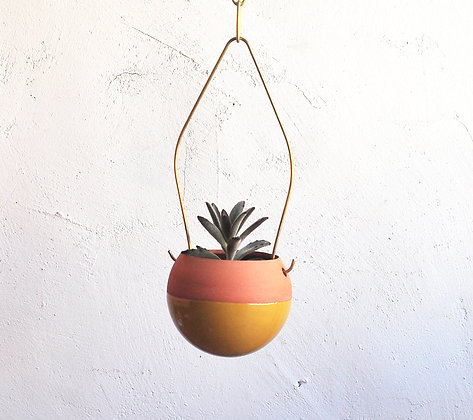 Terracotta Hanging Planter  - S  Ball Shape #ocher