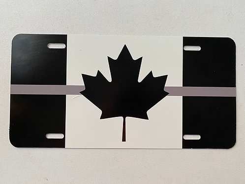 Thin Grey Line Canadian Flag License Plate