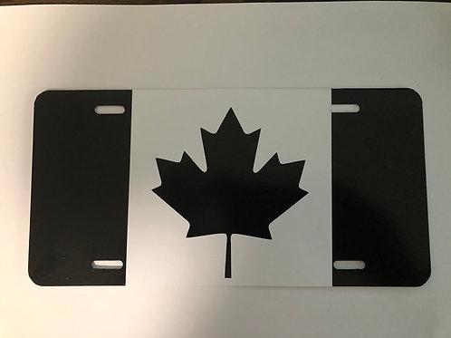 Black Canada Flag License Plate