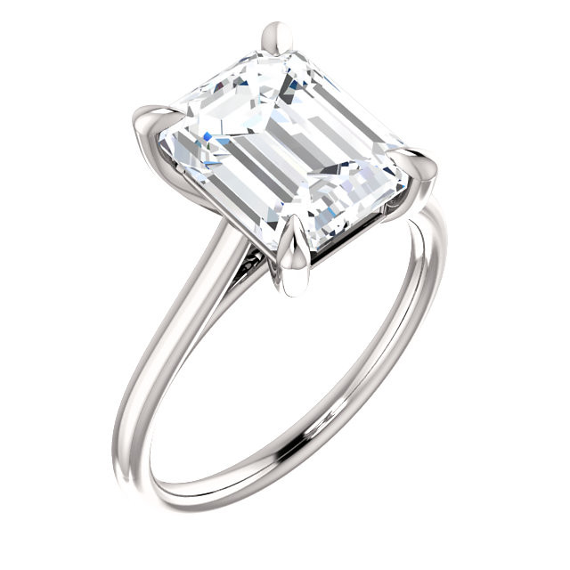Emerald Cut Diamond 4-Prong Cathedral 18k White Gold