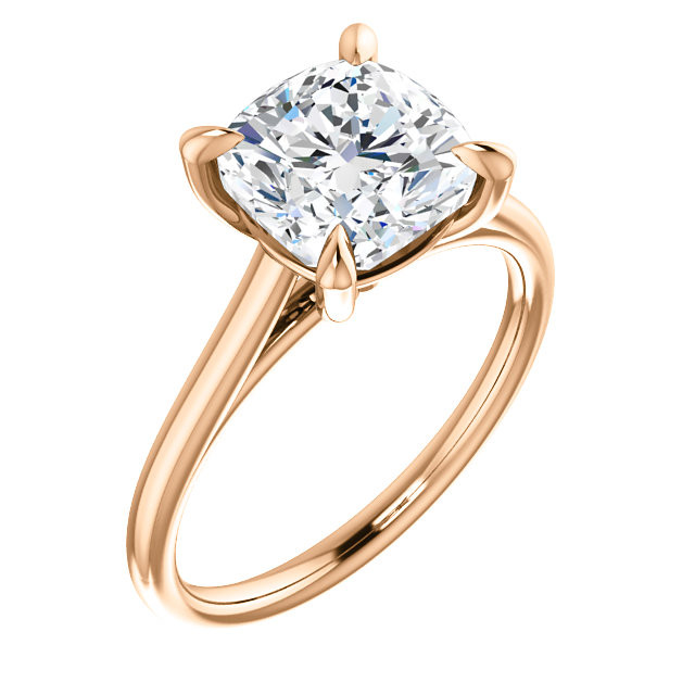 Modified Brilliant Cushion Cut Diamond 4-Prong Cathedral 18k Rose Gold